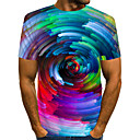 cheap iPhone Cases-Men's Daily Wear Club Street chic / Exaggerated EU / US Size T-shirt - Color Block / 3D / Graphic Print Round Neck Rainbow / Short Sleeve