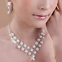 ieftine Inele-Perle Seturi de bijuterii Coliere cu Pandativ Franjuri femei Ciucure Petrecere Strat dublu Perle Zirconiu Cubic Argilă cercei Bijuterii Alb Pentru Petrecere Zi de Naștere Logodnă Cadou / Cercei