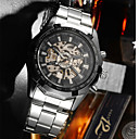 رخيصةأون ساعات الرجال-رجالي ووتش الميكانيكية داخل الساعة أتوماتيك ستايل فضة مقاوم للماء تصميم جديد ساعة كاجوال مماثل موضة - أبيض أسود