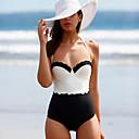ieftine Machiaj & Îngrijire Unghii-Pentru femei De Bază Alb Τρίγωνο Briefs Bikini Costume de Baie - Bloc Culoare Bufantă M L XL Alb