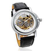 Hombre Reloj de Pulsera El reloj mecánico Huecograbado Cuerda Automática PU Banda Negro