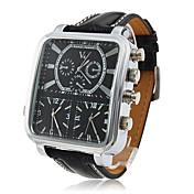 V6 Hombre Reloj Militar Reloj de Pulsera Cuarzo Cuarzo Japonés Tres Husos Horarios PU Banda Negro