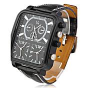 V6 Hombre Cuarzo Cuarzo Japonés Reloj de Pulsera Reloj Militar Tres Husos Horarios PU Banda Encanto Negro