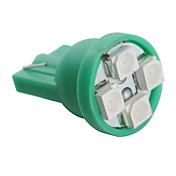 T10 3528 SMD 4-ledede grønt lys pære for bil (12V DC, sett med 4 stk)