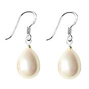 Mujer Perla Plata de ley Perla Artificial Black Pearl Perla rosa Pendientes colgantes - Blanco Negro Rosa Gota Aretes Para Diario