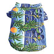 Gato Perro Camiseta Ropa para Perro Flores / Botánica Amarillo Azul Arco iris Algodón Disfraz Para mascotas Hombre Mujer Vacaciones Moda