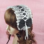 Joyas Lolita Clásica y Tradicional Para la Cabeza Princesa Negro Accesorios de Lolita Tocados Lazo Encaje Un Color por Algodón