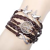 Dame Lær Uendelighet Vedhend Armband Lær Armbånd Sjal Armbånd - Personalisert Grunnleggende Venskap Uendelighet LOVE Brun Armbånd Til