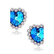Mujer Pendientes cortos Zafiro Sintético Amor Joyería de Lujo Piedras preciosas sintéticas Diamante Sintético Legierung Forma de Corazón