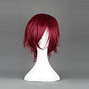 Pelucas de Cosplay Cosplay Rin Matsuoka Rojo Corto Animé Pelucas de Cosplay 35 CM Fibra resistente al calor Hombre