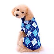 강아지 스웨터 강아지 의류 클래식 패션 격자무늬/체크 블루 코스츔 애완 동물