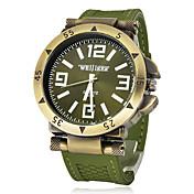 Hombre Reloj Militar Reloj de Pulsera Cuarzo Silicona Banda Negro Verde Negro Plata Verde