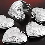 Collares con colgantes / Collar de medallones / Colgantes - Plateado Corazón, Flor, Amor eingeritzt Gargantillas Para Fiesta, Gracias, Diario
