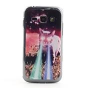 Gato con los ojos del laser del caso del patrón del PVC Back para Samsung Galaxy Ace S7272 3