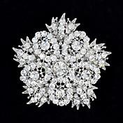 6,3 cm Rhinestone y aleación densa flor grande Hojas Broche de mujer de la joyería del partido