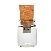 Botella de vidrio de 8 gb con unidad USB flash de corcho pluma (transparente)
