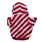 Kat Hund Hettegensere Hundeklær Stribe Rød Bomull Kostume For kjæledyr Herre Dame Fritid/hverdag