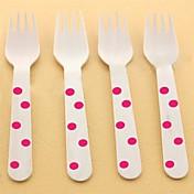 10 개 나무 포크 물방울 무늬 파티 칼 친환경 일회용 식기 결혼 휴가 이벤트 용품