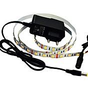 jiawen® 1m 5w 60x5050smd 3000-3200k 따뜻한 화이트 유연한 스트립 조명 + 1A 전력 (교류 110 - 240V)를 주도