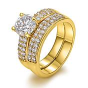 Mujer Anillos de Diseño Europeo Zirconio Cobre 18K de oro Diamante Sintético Joyas Fiesta Diario Casual