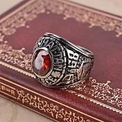 Herre Rubin / Syntetisk Ruby Kors Ring / Statement Ring - Vintage / Fritid / Fødselsstein Rød Ringe Til