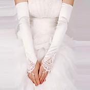 satén sin dedos de longitud de ópera guantes de novia con encaje (más colores)