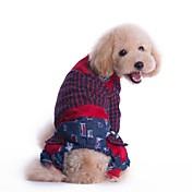 Perro Mono Ropa para Perro Ajedrez Rojo Verde Algodón Disfraz Para mascotas Hombre Mujer Moda