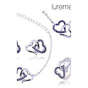 lureme juego doble collar de corazón anillo de la joyería pendiente de la pulsera de las mujeres (color clasificado)
