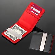 personalizado de metal engravable regalo de cuero artificial rojo plata negro dinero billetera de clip