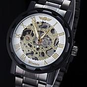 WINNER Herre Mekanisk selvopptrekkende Mekanisk Klokke Armbåndsur Hul Inngravering Rustfritt stål Band Sjarm Svart