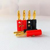 4mm forgylte lanterne-formet plast ladeplugg stereohøyttalere (1 + 1 svart rød)