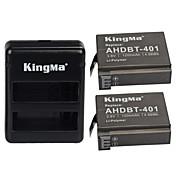 kingma® 2pcs rechargebale AHDBT-401 de la batería 1200mAh + cargador usb dual para Hero GoPro 4 siler negro batería de la cámara