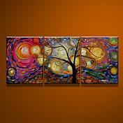 Pintada a mano Abstracto Vertical Lona Pintura al óleo pintada a colgar Decoración hogareña Tres Paneles