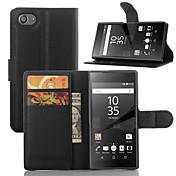 elegante billetera leahter cubierta de la caja de la PU funda para Sony Xperia z5 compactos (colores surtidos)