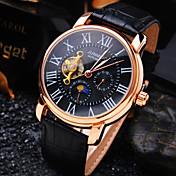Hombre El reloj mecánico Reloj de Pulsera Cuerda Automática Resistente al Agua Huecograbado Piel Banda Lujo Negro Marrón
