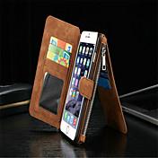 titular de la tarjeta con la cremallera dividida chupan pegatinas caso de cuero de la PU material de la carpeta para el iphone 6 más / 6s