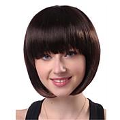여성 인조 합성 가발 캡 없음 스트레이트 곱슬머리 스트레이트 블랙 의상 가발