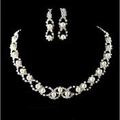 Collar / Pendiente ( Baño en Plata / Aleación / Zirconia Cúbica / Perla de Imitación )- Bonito / Fiesta para Mujer