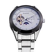 Hombre Reloj de Pulsera Cuerda Automática Reloj Deportivo Acero Inoxidable Banda Plata Blanco Azul