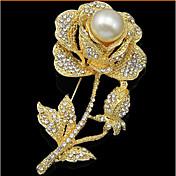 Mujer Bonito Floral Rosas / Flor Perla / Zirconia Cúbica / Diamante Sintético Broche - Floral / Lujo / Flor Dorado Broche Para Boda /