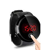 남성용 손목 시계 디지털 터치 스크린 방수 LED 실리콘 밴드 블랙
