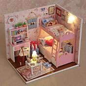 regalos creativos del regalo del arte DIY del modelo de la choza de cumpleaños dollhouse diy incluyendo toda lámpara de luces de muebles
