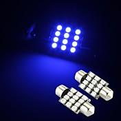 12 SMD 블루 2 개는 실내 돔 전구 빛 36mm를 festoon 주도