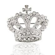 chapado rhinestone corona de la manera broche broche de plata 1pc fiesta de la boda