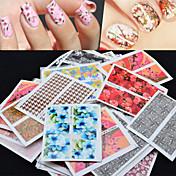 50pcs Vannoverføringsklistre 3D Nail Stickers Nail Stamping Template Daglig Blomst Abstrakt Mote Høy kvalitet