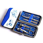 패션 파란색과 흰색 도자기 네일 아트 도구 세트, 손톱 깎기 earpick 눈썹 집게 여행 매니큐어 세트