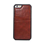 Etui Til Apple iPhone 6 iPhone 6 Plus Kortholder Bakdeksel Helfarge Hard PU Leather til iPhone 6s Plus iPhone 6s iPhone 6 Plus iPhone 6