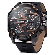 Hombre Reloj Militar Reloj de Pulsera Cuarzo Calendario Dos Husos Horarios Piel Banda De Lujo Negro Marrón