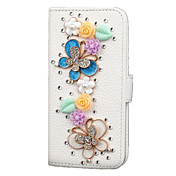Funda Para iPhone 5 Apple Funda iPhone 5 Diamantes Sintéticos Funda de Cuerpo Entero Flor Dura Cuero de PU para iPhone SE/5s iPhone 5
