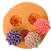 Tres flores de la célula de molde de silicona flor Pequeño Fondant Moldes Azúcar herramientas artesanales de resina Moldes moldes para tortas